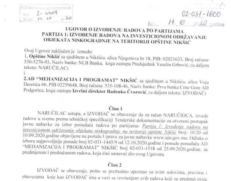 Ugovor koji je potpisao Veselin Grbović sa Mehanizacijom i programatom