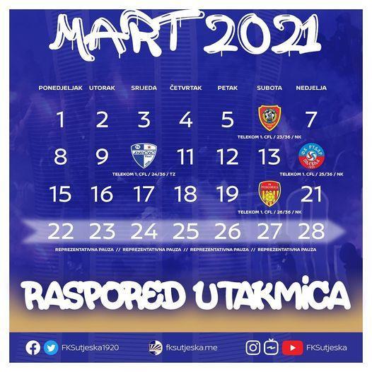 Raspored utakmica Sutjeske