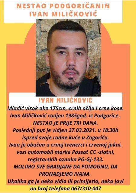 Ivan Miličković, Podgorica, nestao