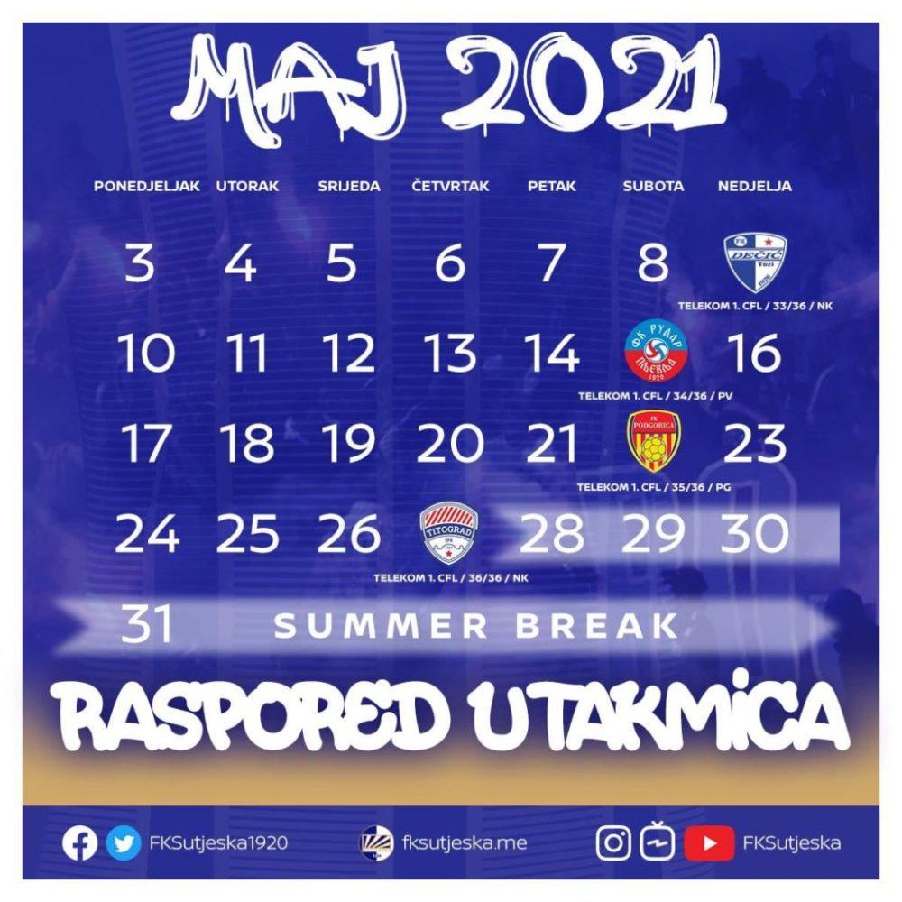 Plavi će u maju odigrati četiri utakmice.
